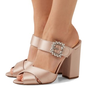 Blush Satin Rhinestone Buckle Chunky Heel Mule Sandals