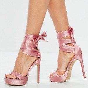 Pink Satin Strappy Stiletto Heel Platform Sandals