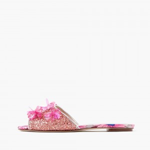 Pink Sequined Women's Slide Sandals Glitter Flat Open Toe Sandals