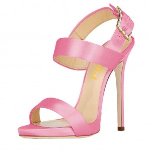 Pink Slingback Heels Satin Open Toe Stiletto Heels Sandals