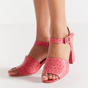Pink Slingback Shoes Chunky Heels Peep Toe Ankle Strap Sandals