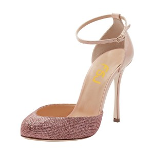 Pink Sparkly Heels Almond Toe Stiletto Heels Ankle Strap Sandals