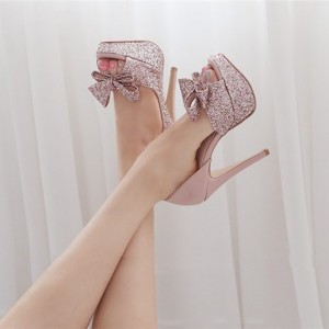Pink Bow Wedding Shoes Peep Toe Platform Heel Pumps Glitter Shoes