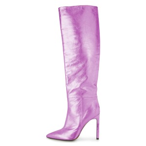 Orchid Stiletto Boots Sexy Pointy Toe Knee-high Boots