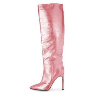Pink Stiletto Boots Sexy Pointy Toe Knee-high Boots