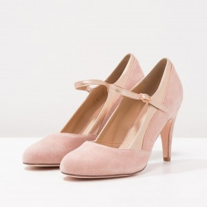 Pink Stiletto Heels Mary Jane Shoes Round Toe Pumps for Office Lady