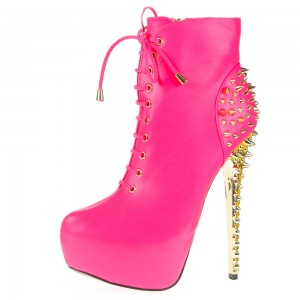 Pink Stiletto Heels Stripper Shoes Rivets Platform Heel Ankle Booties