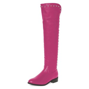 Orchid Studs Round Toe Flat Long Boots Knee High Boots