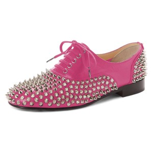 Pink Studs Shoes Lace Up Oxfords
