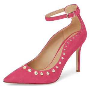 Hot Pink Suede Ankle Strap Heels Studs Pointy Toe Pumps