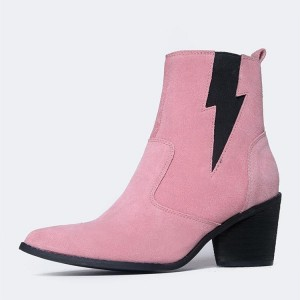 Pink Suede Black Lightning Block Heel Ankle Booties