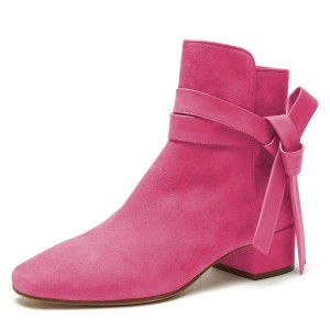Pink Suede Boots Bow Chunky Heel Ankle Boots