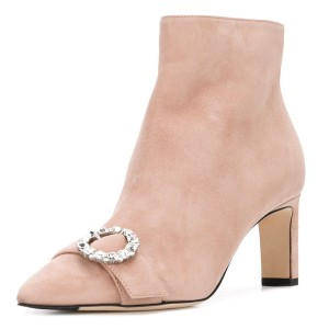 Pink Suede Buckle Chunky Heel Ankle Booties