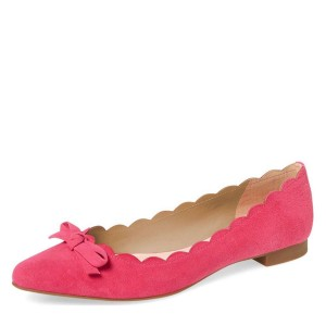 Pink Suede Curvy Bow Comfortable Flats