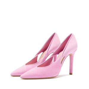 Pink Suede Cut Out Stiletto Heels Pumps