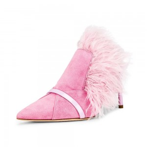 Pink Suede Feather Mule Heels Pumps