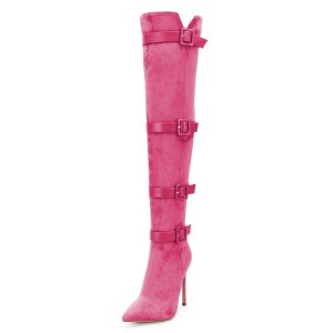 Hot Pink Buckle boots Pointy Toe Stiletto Heel Suede Long Boots