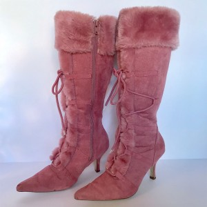 Pink Suede Fur Boots Lace up Stiletto Heel Mid-calf Boots