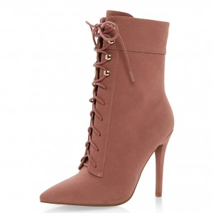 Pink Suede Lace up Boots Pointed Toe Stiletto Heel Ankle Booties