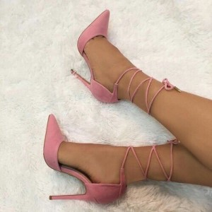 Pink Suede Pointy Toe Strappy Heels Pumps