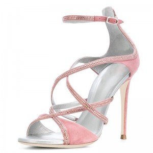 Pink Suede Rhinestones Cross Over Stiletto Heel Ankle Strap Sandals