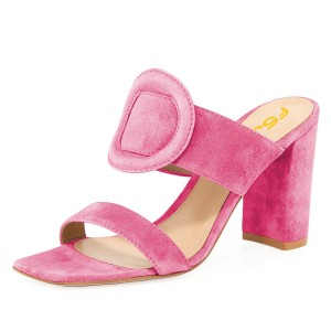 Pink Suede Square Toe Chunky Heel Mule Sandals