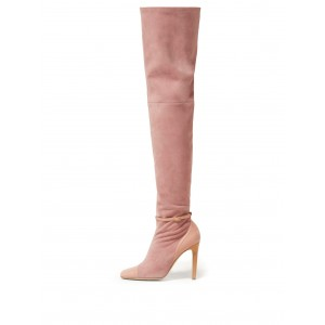 Pink Suede Stiletto Boots Knee-high Boots
