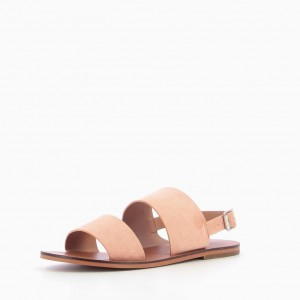 Pink Suede Wide Strapped Sandals Comfortable Flats Summer Sandals