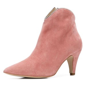 Pink Suede Zipper Pointy Toe Cone Heel Ankle Booties