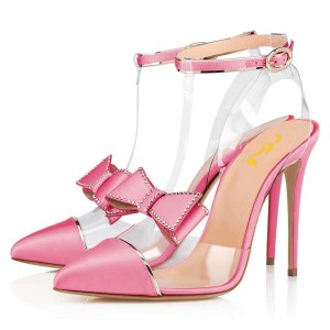 Pink T Strap Pumps PVC Bow Stiletto Heel Pumps