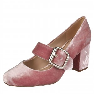 Pink Velvet Mary Jane Pumps Block Heel Vintage Shoes