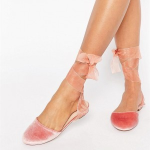 Pink Velvet Round Toe Comfortable Flats Lace Strappy Shoes