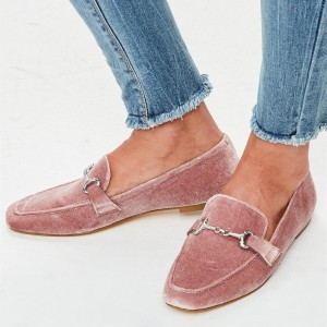 Pink Velvet Round Toe Flats Loafers for Women