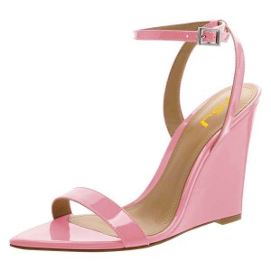 Pink Wedge Heels Patent Leather Ankle Strap Sandals