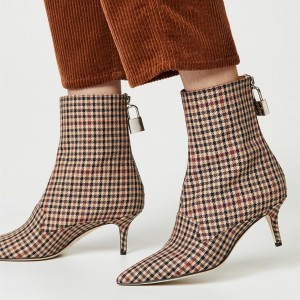 Plaid Lock Kitten Heel boots