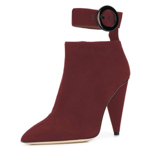 Plum Ankle Strap Buckle Cone Heel Ankle Booties