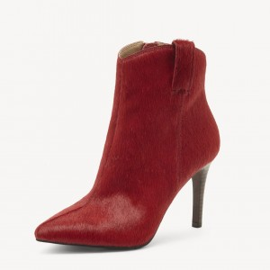 Plum Horse Hair Pointy Toe Stiletto Heel Ankle Booties