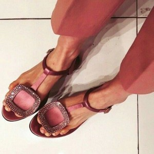 Plum Rhinestone Flats Satin Comfortable Thong Sandals