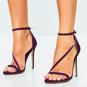 Plum Sparkly Ankle Strap Sandals Open Toe Stiletto Heels US Size 3-15