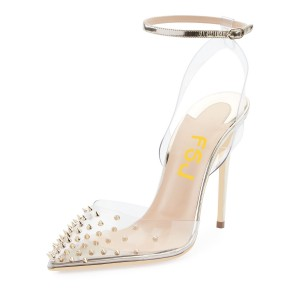 Pointed Toe Rivets Ankle Strap Clear Heels Transparent Slingback Pumps