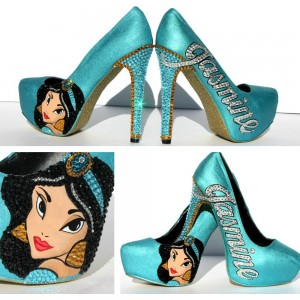 Princess Jasmine Teal Shoes Rhinestone Platform Pumps for Halloween