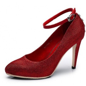 Women's Red Ankle Strap Heels Dress Shoes Closed Toe Pumps for Big Day