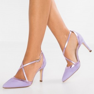 Purple 4 inch Heels Twisted Straps Stiletto Heels Shoes