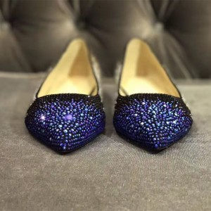 Purple and Black Pointy Toe Flats Rhinestone Suede Shoes