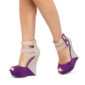Purple and Nude Wedge Sandals Peep Toe Ankle Strap Sandals
