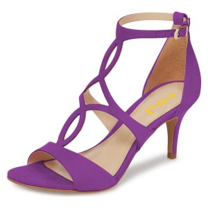 FSJ Purple T Strap Sandals Open Toe Dressy Office Heels