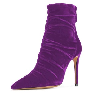 Purple Blue Velvet Stiletto Boots Pointy Toe Ankle Boots