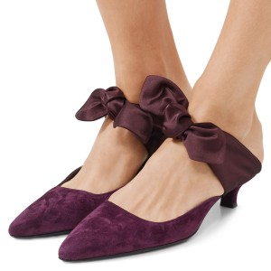Plum Bow Almond Toe Kitten Heel Mules
