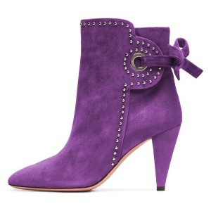 Purple Cone Heels Suede Back Lace up Studs Ankle Booties By FSJ