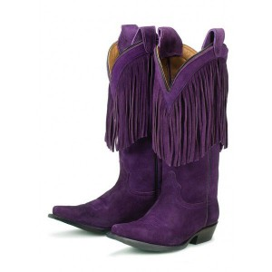 Purple Cowgirl Boots Fringe Mid Calf Suede Boots